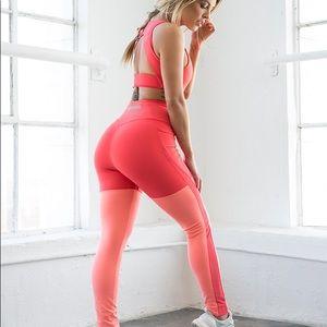 Gymshark two tone pink peach leggings small